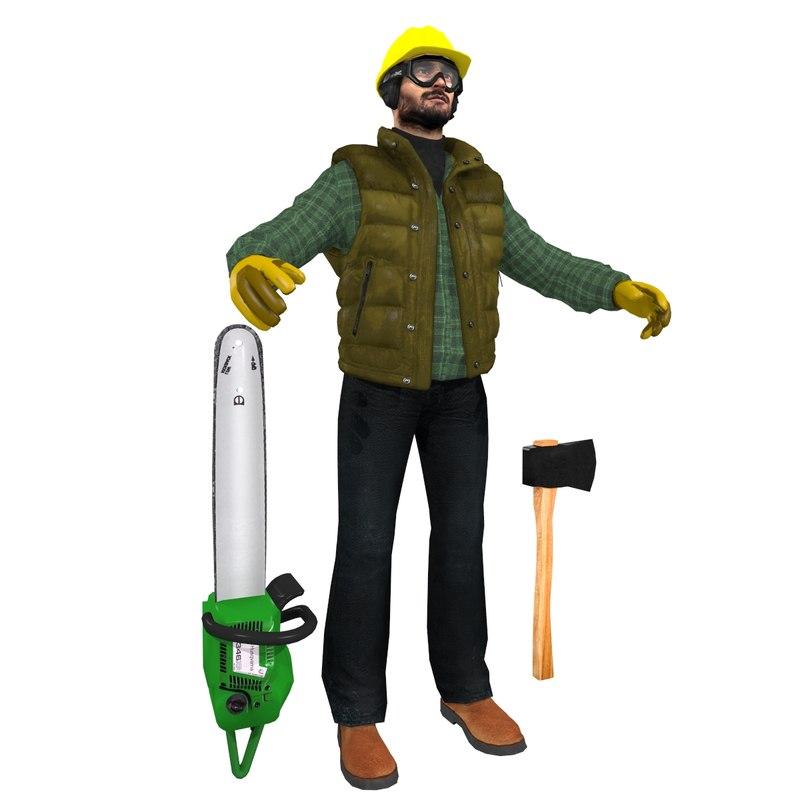 3d model jack worker man