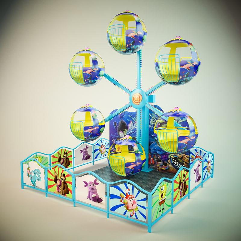 carousel kids 3d max