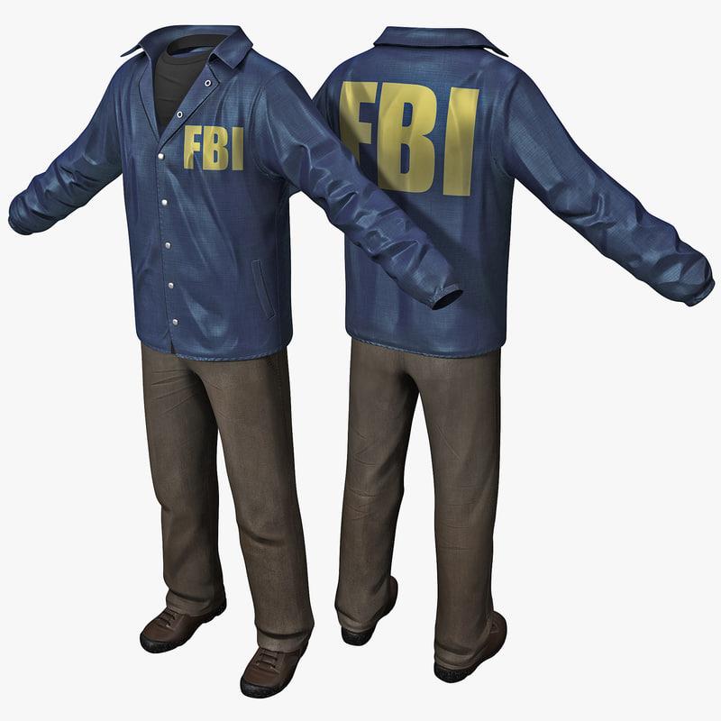 3d model fbi agent clothes