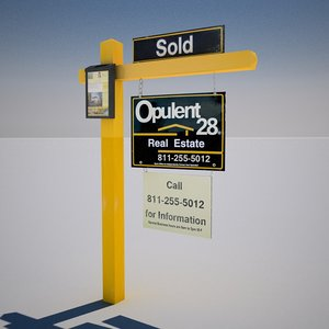 3d model of real estate yard sign