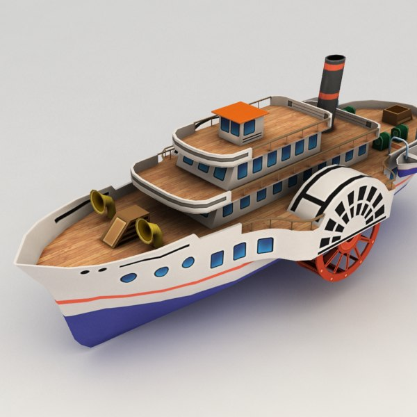 3d paddle steamer boat model