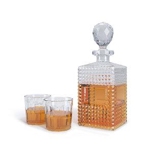 decanter glasses 3d model