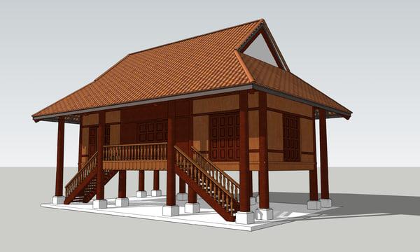 nhà sàn vietnamese 3d 3ds