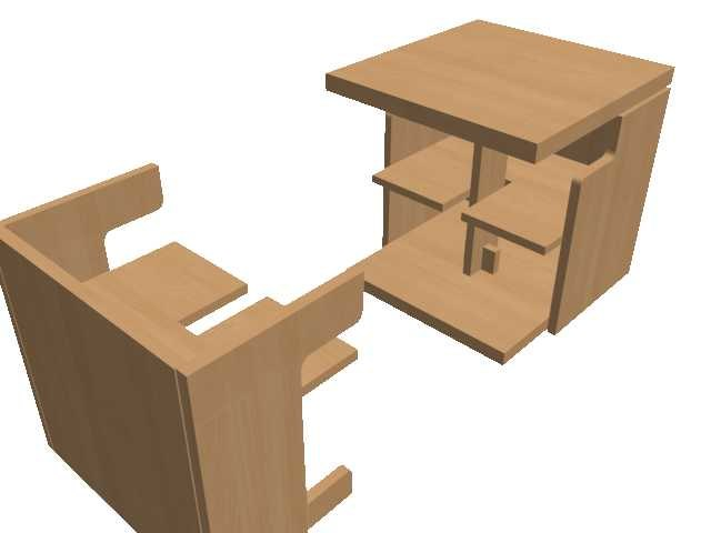 compact table chair 3d max