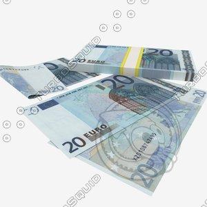 3d model 20 euro banknote