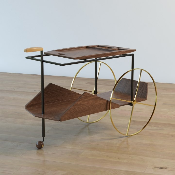 3d model tea trolley