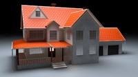 3d north american garden house wood
