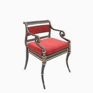 baker regency armchair chair 3d model