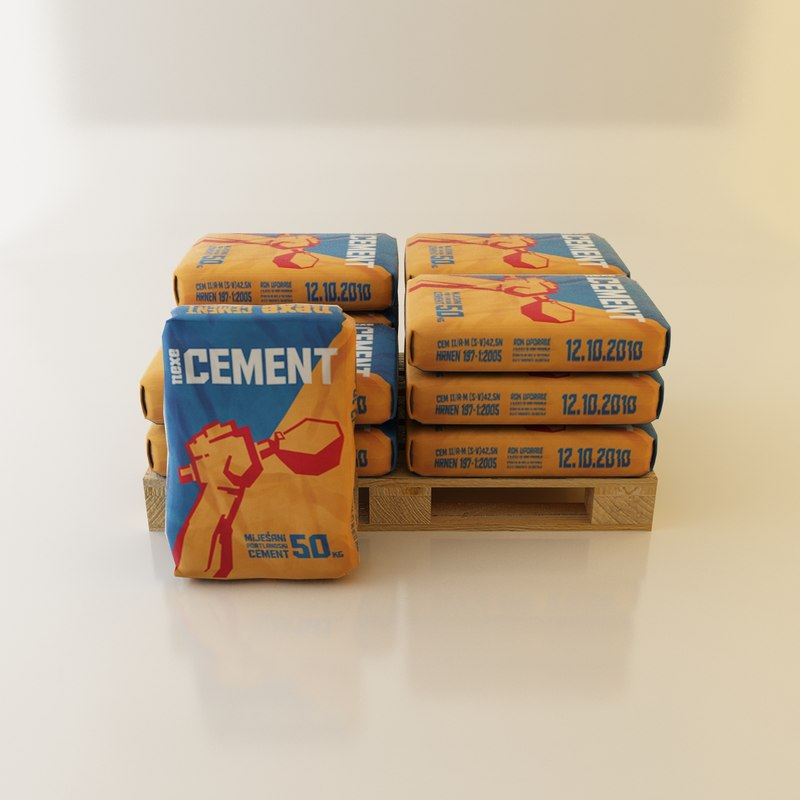 cement bag pallet 3d max