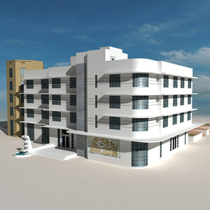 3d beach building 08 houses