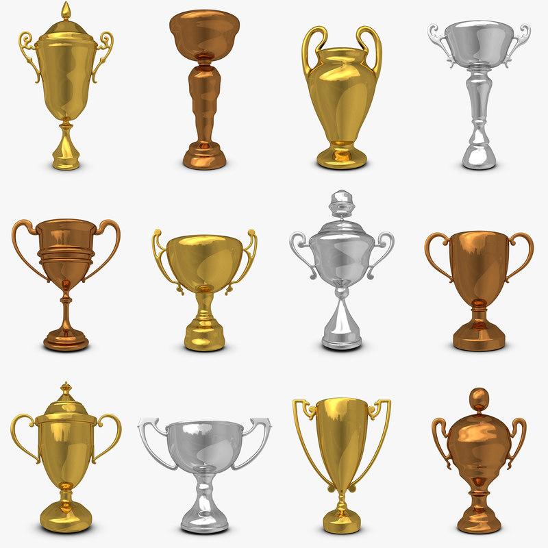 mega trophy cup set 3d model