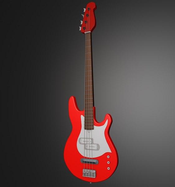 3d red bass guitar model