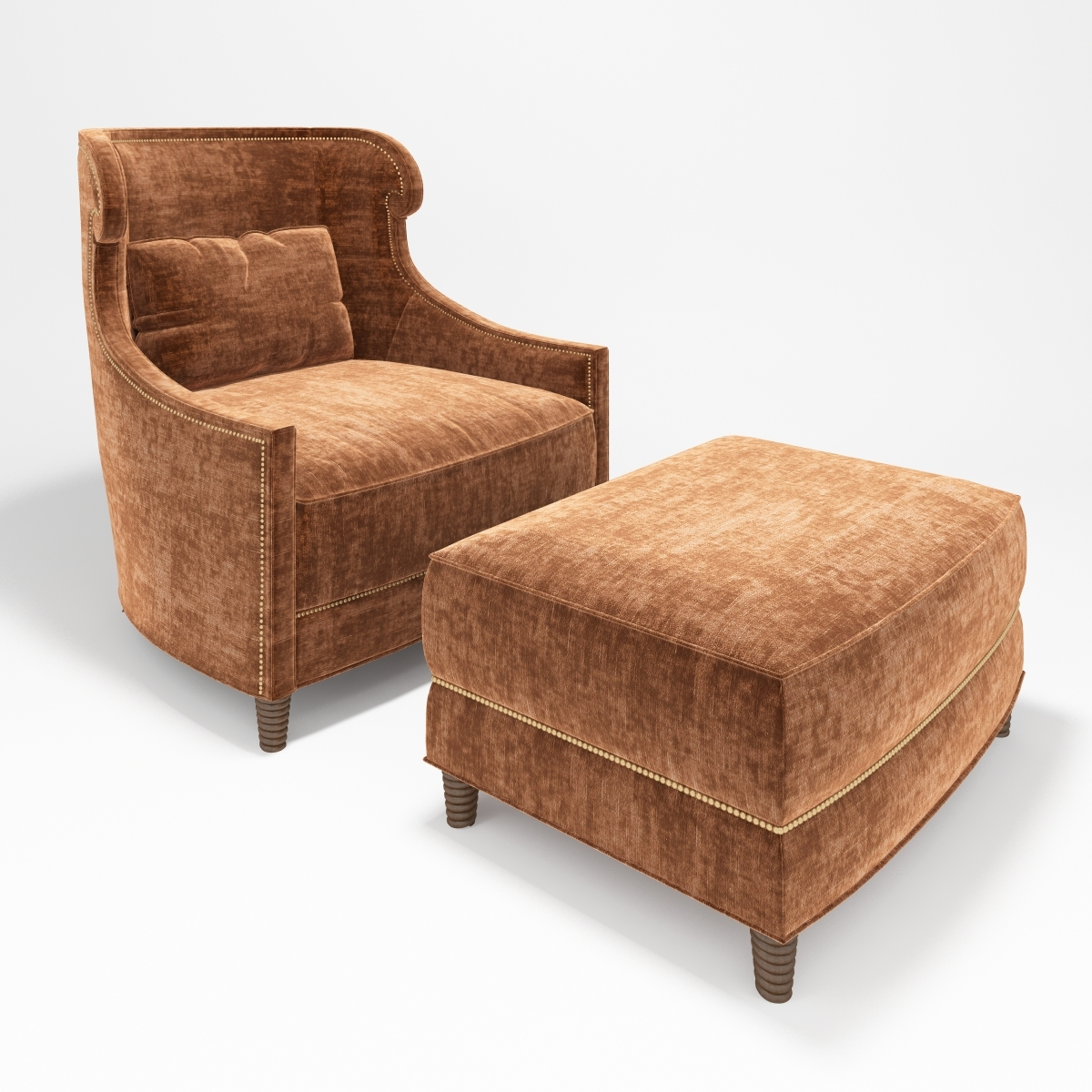 Sensational Baker Tuileries Armchair And Ottoman Ibusinesslaw Wood Chair Design Ideas Ibusinesslaworg
