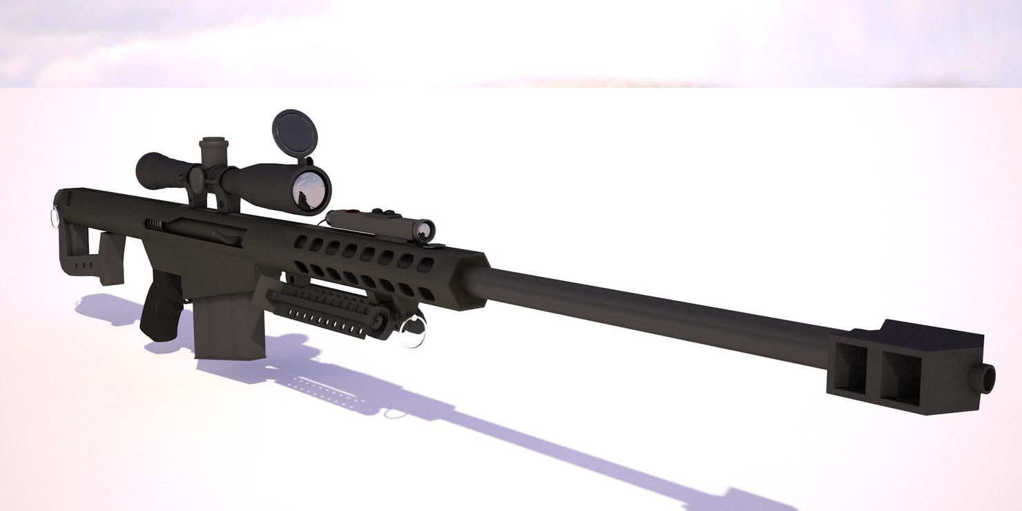 3d model rifle barrett