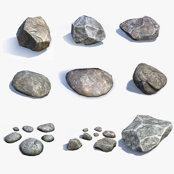 sets stones 3d model