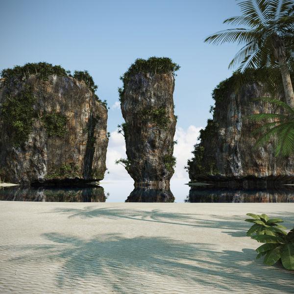 3dsmax beach thailand rock