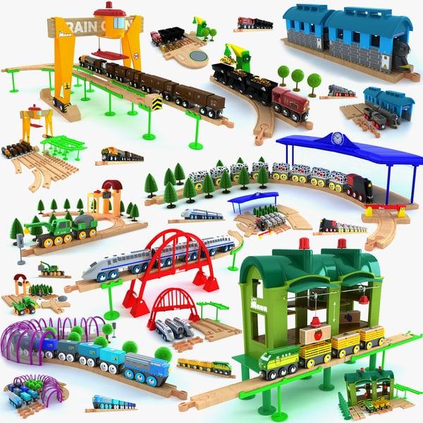 3d model kids train toys set