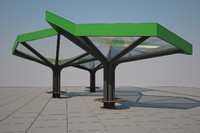 3d model modern bus stop