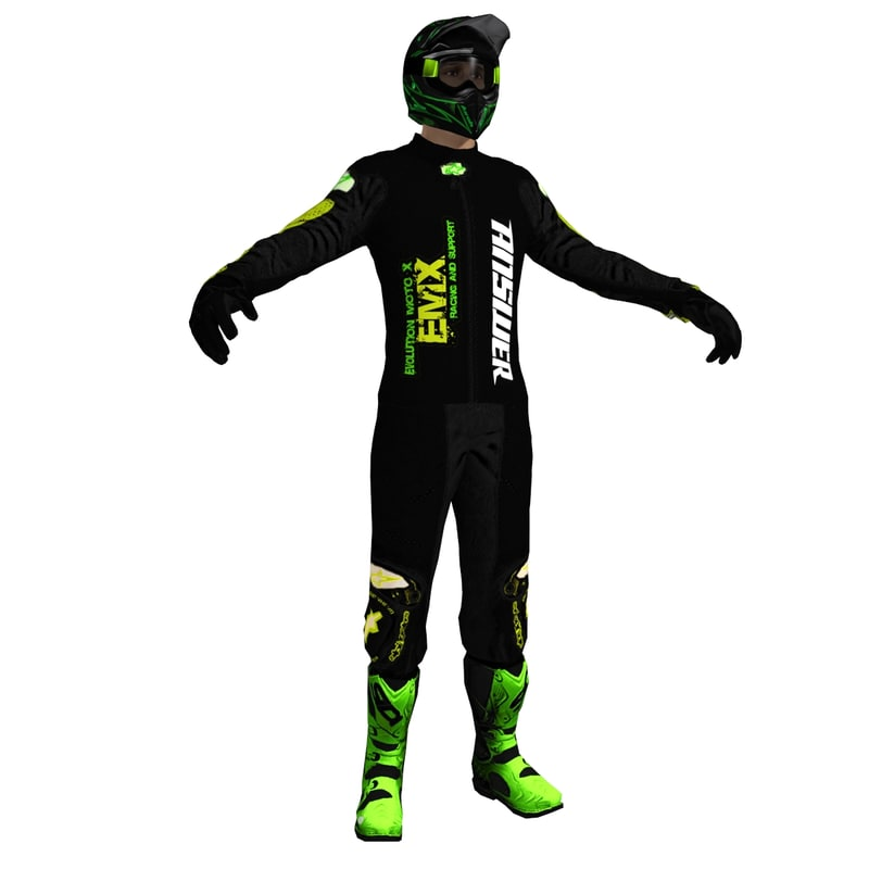 3d model of dirt bike rider