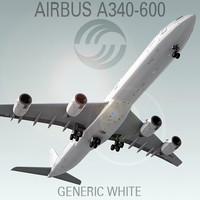3d airbus a340-600 generic white model