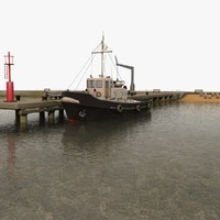 3d model of harbour pier beacon