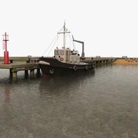 3d model of harbour pier beacon