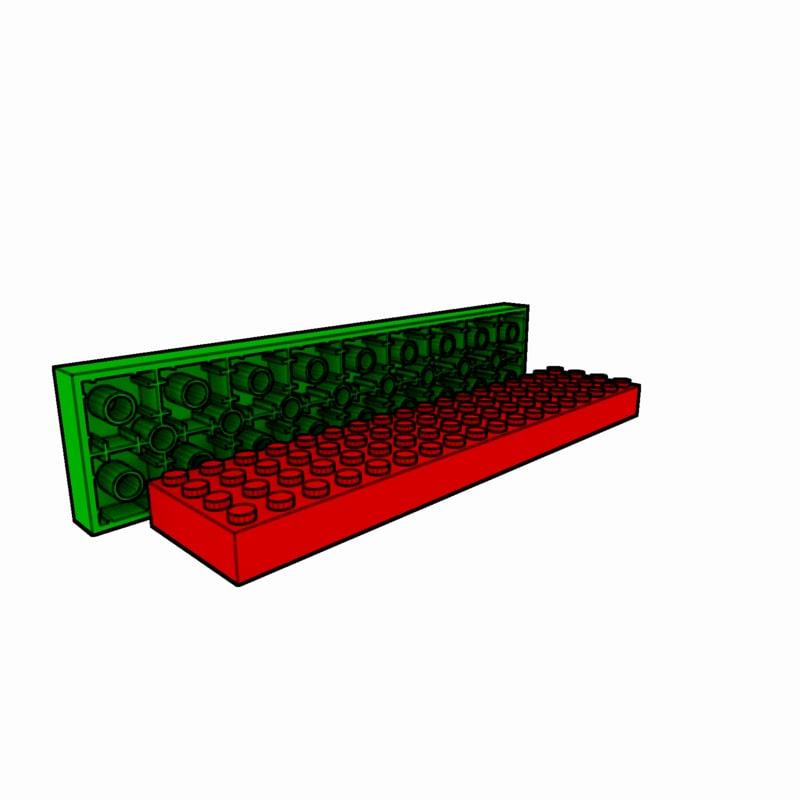 piece lego brick 4x18 3d model