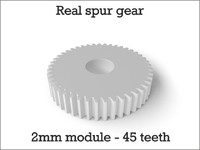 Real spur gear 2mm module - 45 teeth