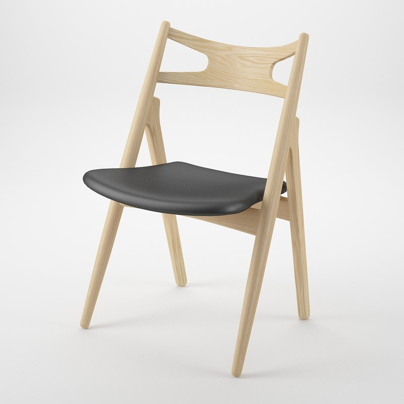 3d model sawbuck chair hans j