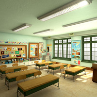 3d model cartoon classroom scene