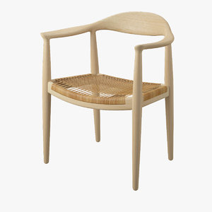 hans wegner wicker chair 3d model