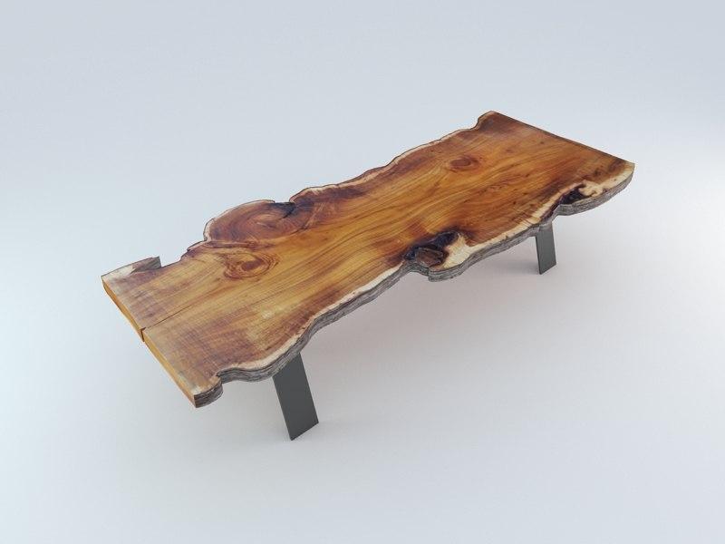 slabwood dinner table 3d model
