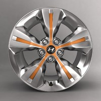 3d model of hyundai car alloy logo
