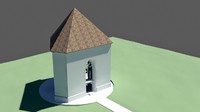 3d model chapel arch roof