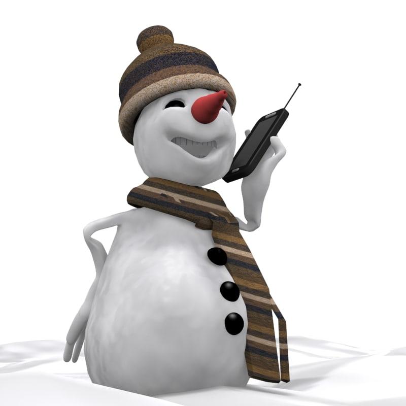 3d cartoon snowman model