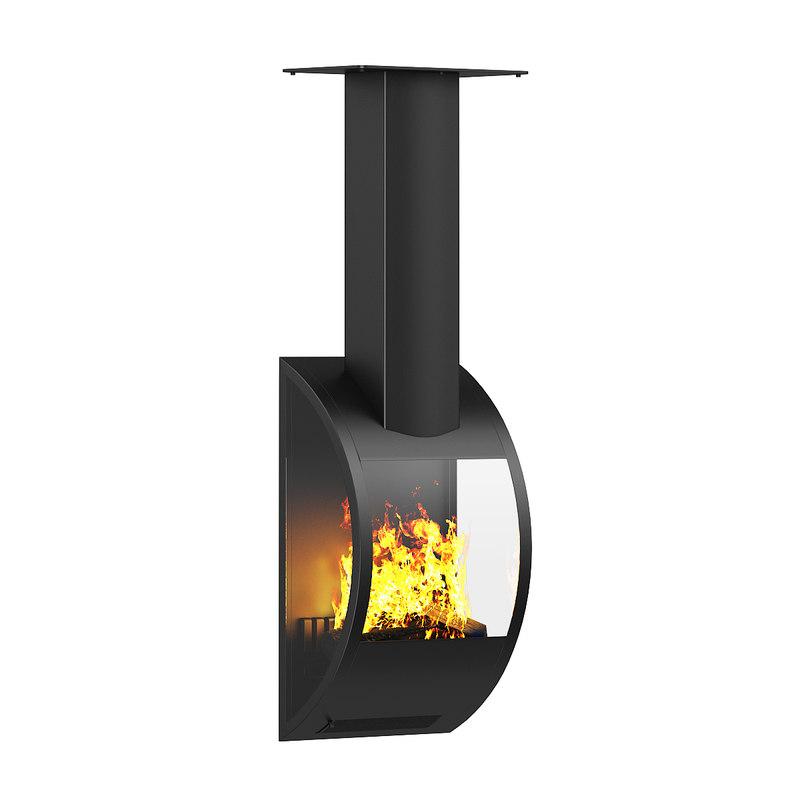 wall fireplace 3d model