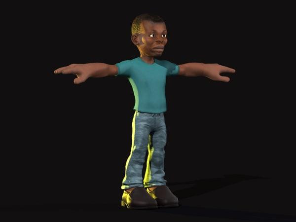 3d model afro man cartoon