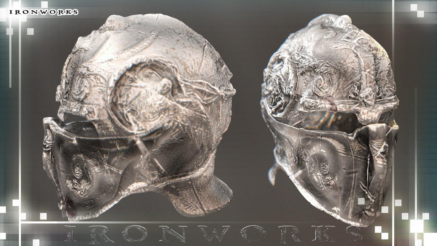 crusader helmet 3d obj