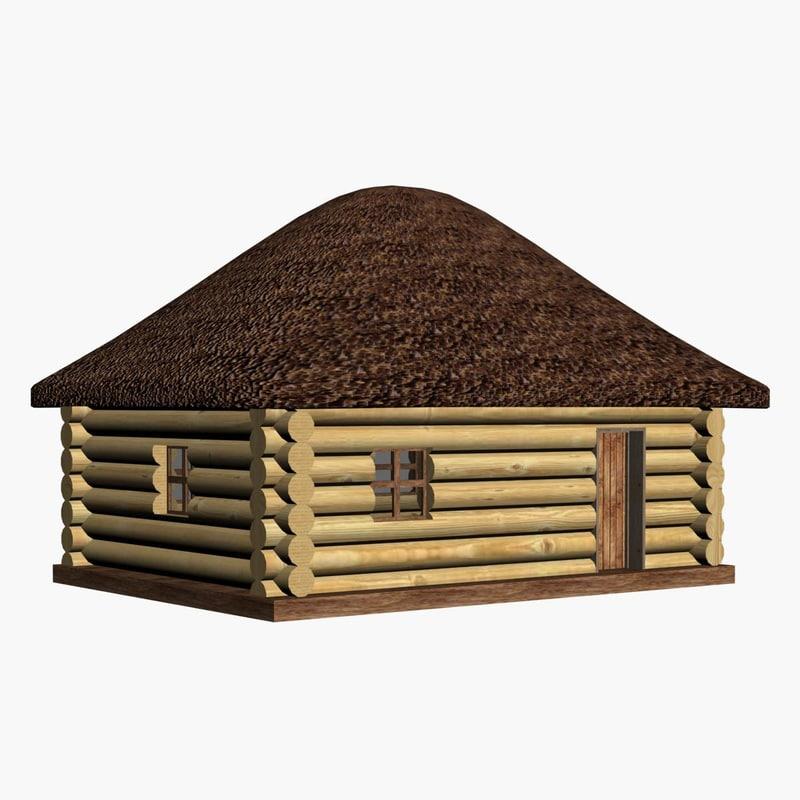 3d model wood hut