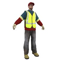 garbage worker man 3d obj