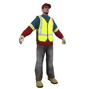 garbage worker man 3d obj