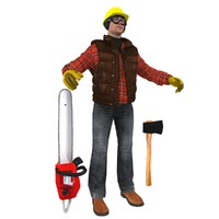 lumberjack worker man 3d max