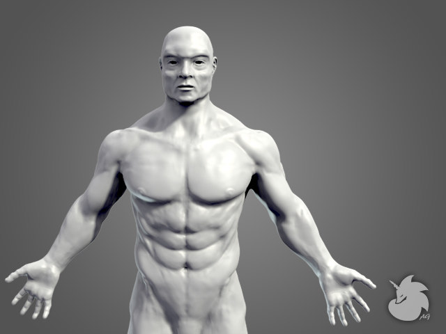 sculpt muscular male base mesh 3d obj