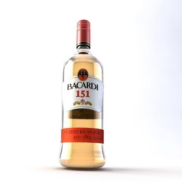 3d bottle bacardi 151