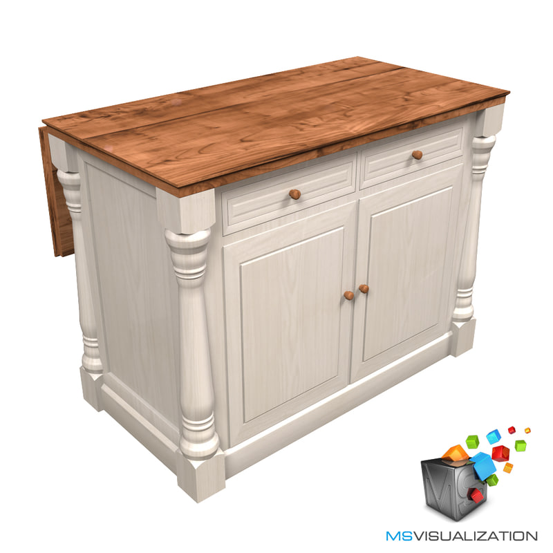 Colonial kitchen island table 3d model for Kitchen modeler