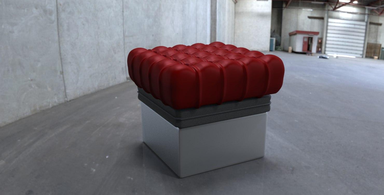 3d red cushion model