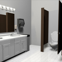 bathroom set public restroom 3d c4d