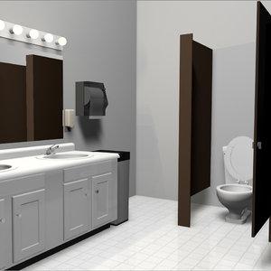 bathroom set public restroom 3d c4d
