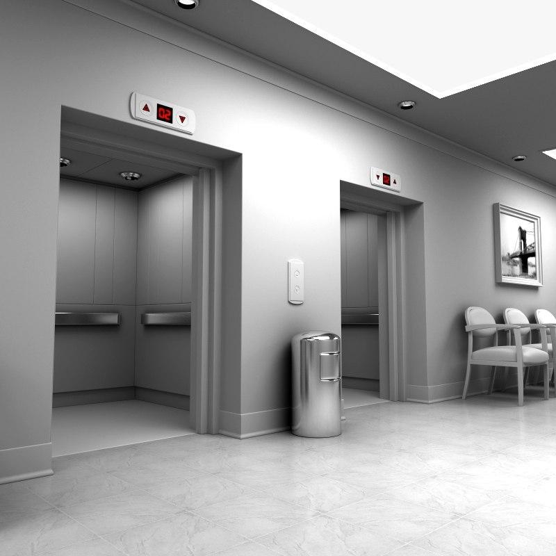 modern hallway elevators 3ds
