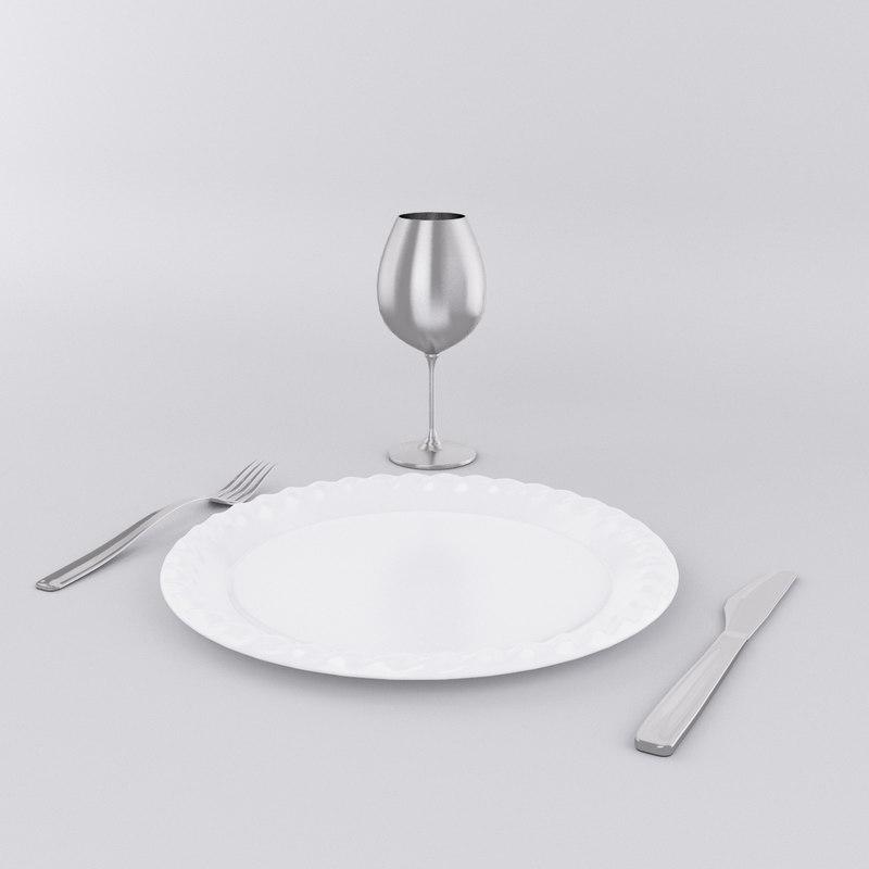 dinner plate set 3d model